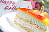 Cake with candle for birthday    Stock Foto