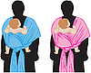 Vector clipart: Baby in sling