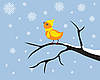 Vector clipart: Little bird on branch