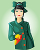 Lady in green | Stock Vector Graphics
