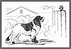 Векторный клипарт: собака ландсир и котенок