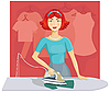 Vector clipart: Woman ironing clothes