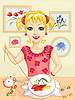 Vector clipart: Girl embroidering