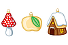 Vector clipart: mushroom, apple and winter house as christmas decorations