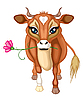 brown cow with flower