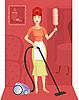 Frau mit einem Staubsauger