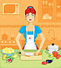 Woman in kitchen | Stock Vector Graphics