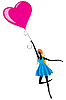 Vector clipart: girl with the balloon