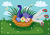 Vector clipart: bird in nest
