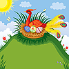 Vector clipart: Red bird in the nest