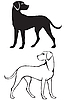 Vector clipart: Silhouette and contour dog