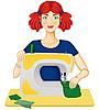 Vector clipart: Woman sews