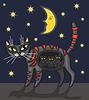 Vektor Cliparts: Nacht-Katze
