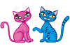 Vector clipart: Couple of cute kittens