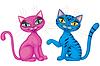 Векторный клипарт: Пара милых котят