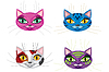 Vector clipart: Kittens muzzles
