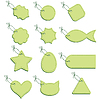 Vector clipart: Green labels on string