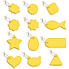 Vector clipart: Yellow labels on string