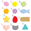 Vector clipart: Multicolored labels on string