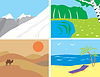 Vector clipart: Landscapes in primitive style
