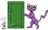 Vector clipart: Postcard with cat and mouse