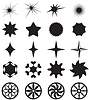 Vector clipart: Collection curly stars