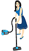 Vector clipart: Housewife with vacuum cleaner