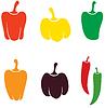 Векторный клипарт: Перцы разных цветов