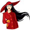 Vector clipart: Lady in hat