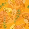 Vector clipart: Pattern with gold fish