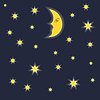 Vector clipart: Moon and stars