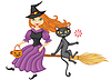 ID 3383724 | Witch and cat on broom | Stock Vector Graphics | CLIPARTO