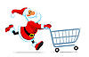 Santa runs with shopping cart