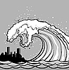 Vector clipart: tsunami monster over city