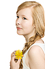 Photo 300 DPI: pretty girl with yellow flower