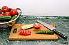 ID 3090998   Red tomato and green cucumbers slices with knife on board   High resolution stock photo   CLIPARTO