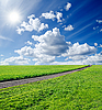Rural road in green field | Stock Foto