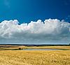 Wiejskich miejscowości ze stawem i chmury | Stock Foto