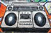 Photo 300 DPI: radio-cassette player as graffiti on wall