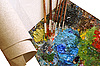 Photo 300 DPI: set for painting - canvas, palette, paintbrushes