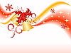 Векторный клипарт: волнистый новогодний фон с колокольчиками