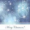 Векторный клипарт: синяя рождественская открытка со снежинками
