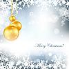 Векторный клипарт: рождественская открытка с шарами и снежинками