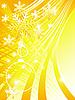 Векторный клипарт: желтая новогодняя открытка со снежинками