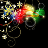 Vector clipart: black Christmas backdrop with snowflakes