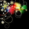 Векторный клипарт: черный новогодний фон со снежинками