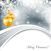 Vector clipart: Christmas card with balls and snowflakes