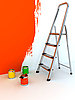 Stepladder and paints | Stock Illustration