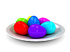 Plate with color eggs | Stock Illustration