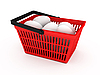 Shopping basket with eggs | Stock Illustration
